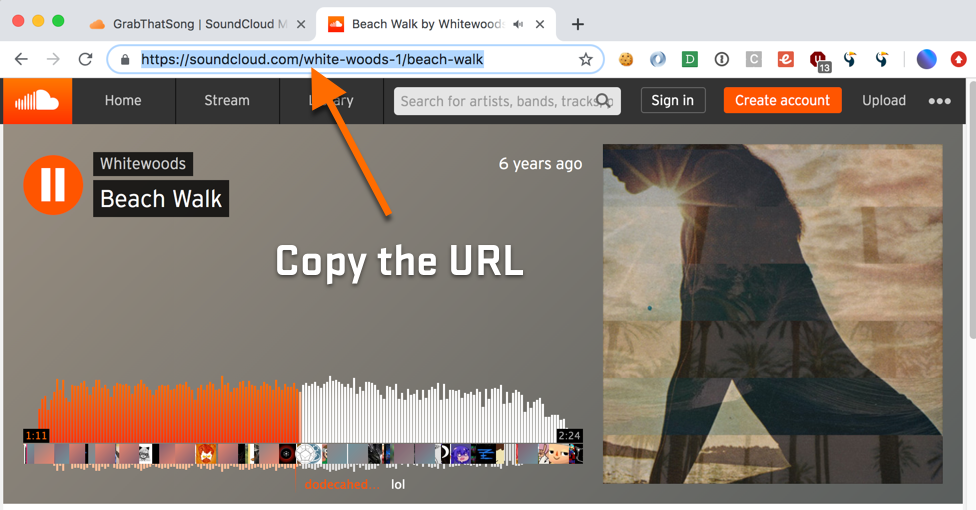 Open SoundCloud Song Page and Copy the URL from the Address Bar